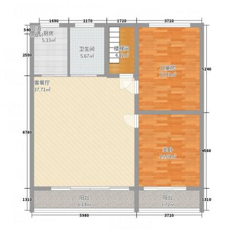 服装城煤炭厅宿舍2室1厅1卫1厨135.00㎡户型图