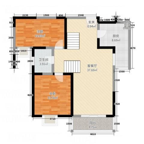 翡翠湾花园2室1厅1卫1厨81.80㎡户型图