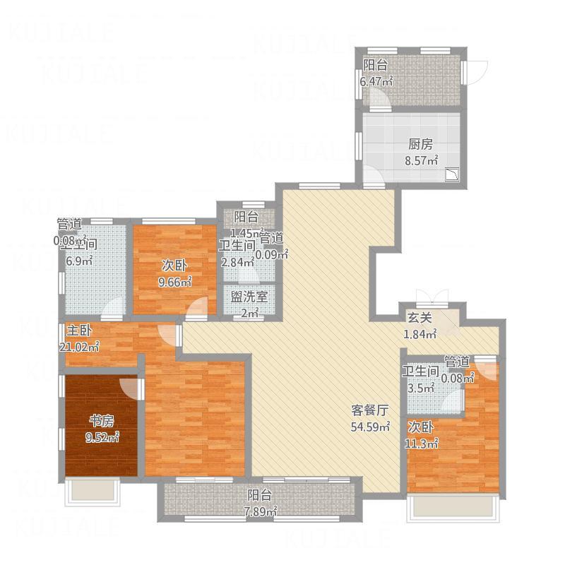 大庆_绿地金融官邸_E1四室两厅三卫206㎡