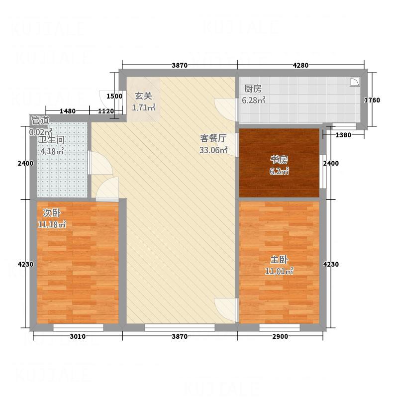 恒羿・卓越时代B户型3室2厅1卫1厨