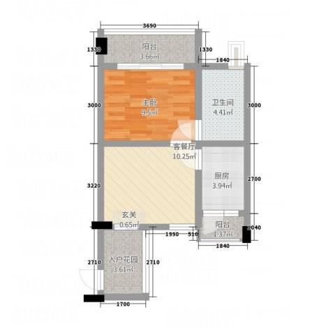 德建华庭1室1厅1卫1厨56.00㎡户型图