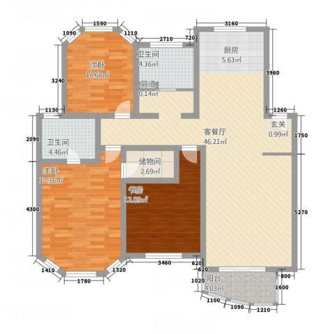 半岛公寓3室1厅2卫0厨146.00㎡户型图