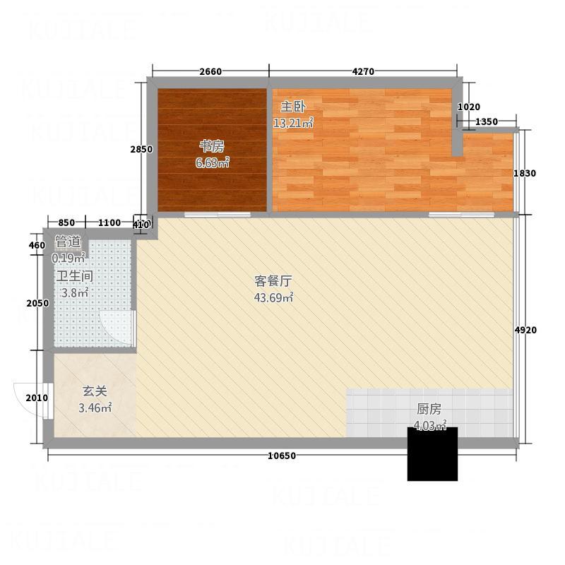 华利国际87.00㎡d户型2室2厅1卫1厨