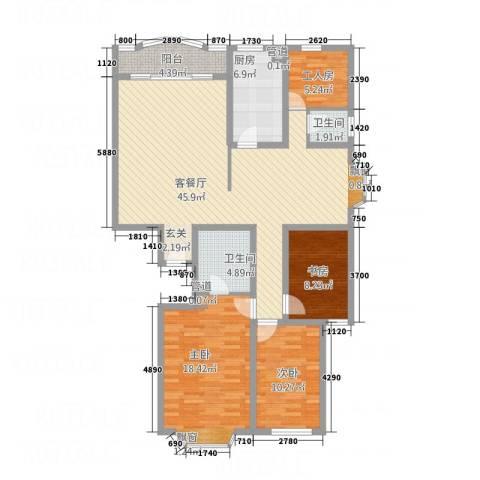 泰时新雅园3室1厅2卫1厨152.00㎡户型图