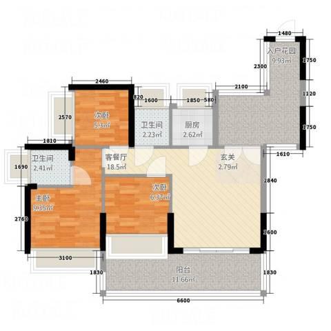 惠绅花园3室1厅2卫1厨99.00㎡户型图