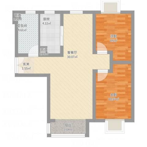 富地广场2室1厅1卫1厨85.00㎡户型图