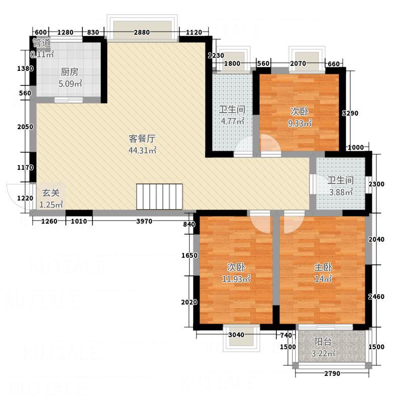 翡翠湾花园125.00㎡C1户型5室2厅2卫1厨