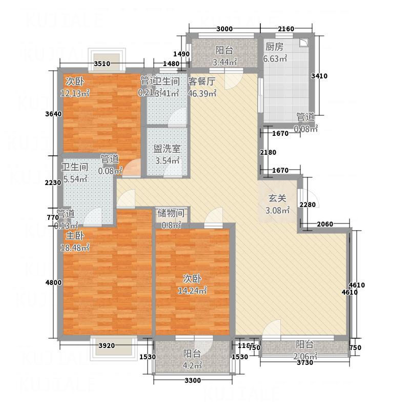 湖畔佳苑户型3室2厅2卫1厨