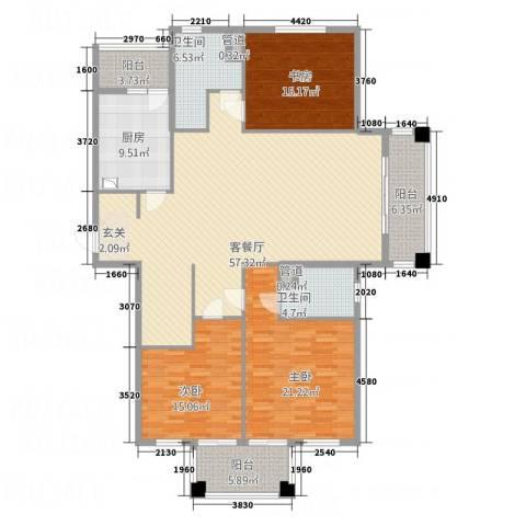 奥园印象高迪3室1厅2卫1厨163.20㎡户型图