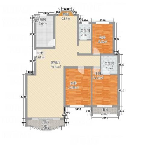泰时新雅园3室1厅2卫1厨146.00㎡户型图