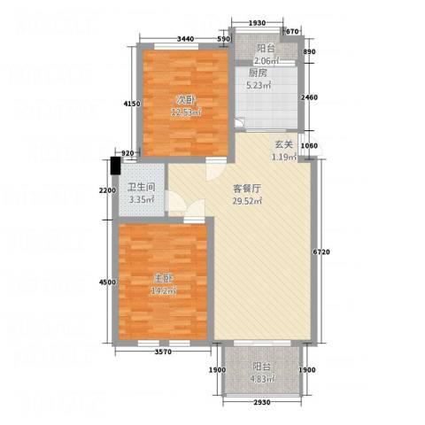 华苑大厦2室1厅1卫1厨102.00㎡户型图