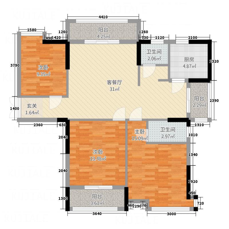 翡翠城3216.20㎡--户型3室2厅2卫