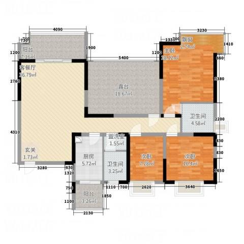 君领庄园3室2厅2卫1厨167.00㎡户型图