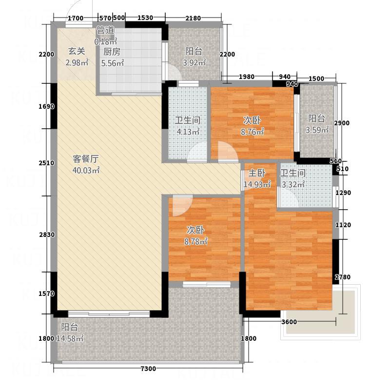 翁江新城126.28㎡3+户型4室2厅2卫1厨