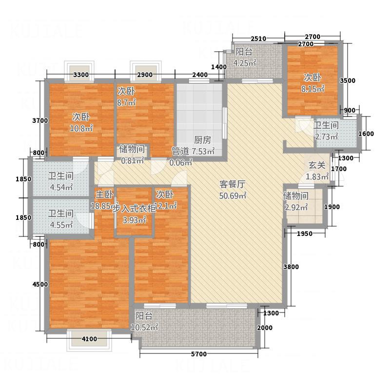 恩达国际18.30㎡A户型5室2厅3卫1厨