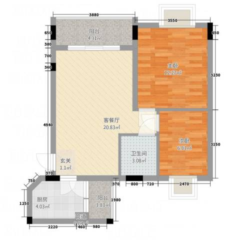 德建华庭2室1厅1卫1厨76.00㎡户型图