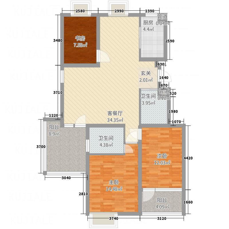 棉麻公司家属院135.00㎡322135户型3室2厅2卫1厨