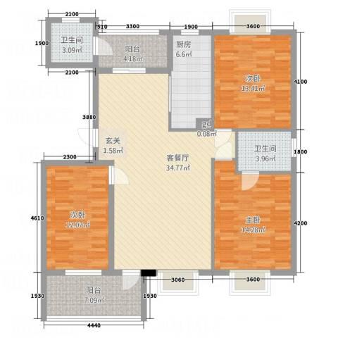诚诺山庄3室1厅2卫1厨140.00㎡户型图