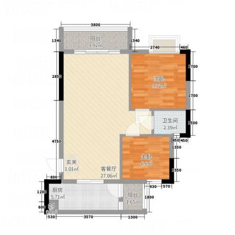 信和华庭2室1厅1卫1厨79.00㎡户型图