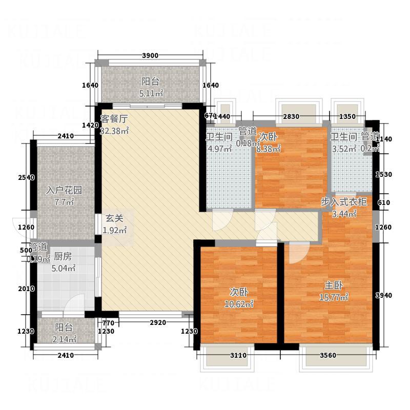 西粤京基城四期124.00㎡5幢05、06户型4室2厅2卫1厨