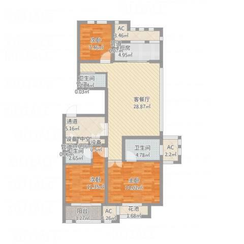 华润置地橡树湾3室1厅3卫1厨140.00㎡户型图