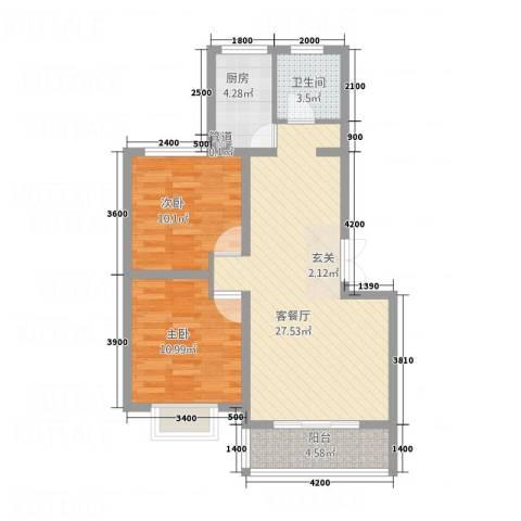 金世・现代城2室1厅1卫1厨84.00㎡户型图