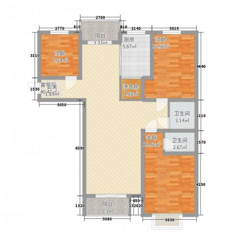 逸城・浅水湾3室1厅2卫1厨128.00㎡户型图