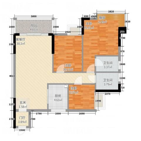 凯旋美域3室1厅2卫1厨115.00㎡户型图