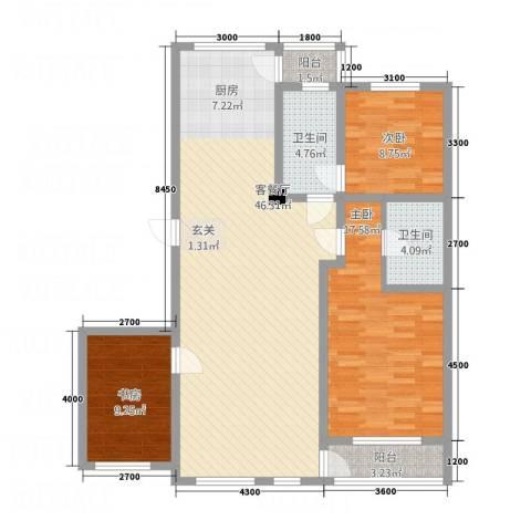 昌盛经典二期御花苑3室1厅2卫0厨136.00㎡户型图