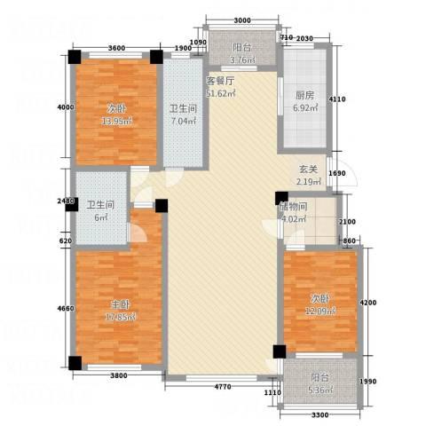 昌盛经典二期御花苑3室1厅2卫1厨184.00㎡户型图