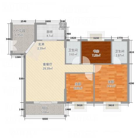 新城国际3室1厅2卫1厨118.00㎡户型图