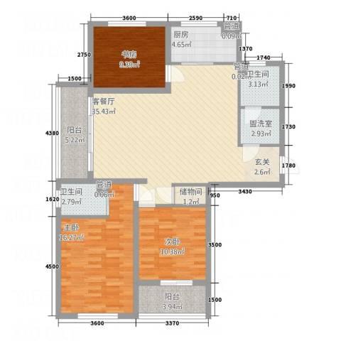 临桥苑3室2厅2卫1厨95.50㎡户型图