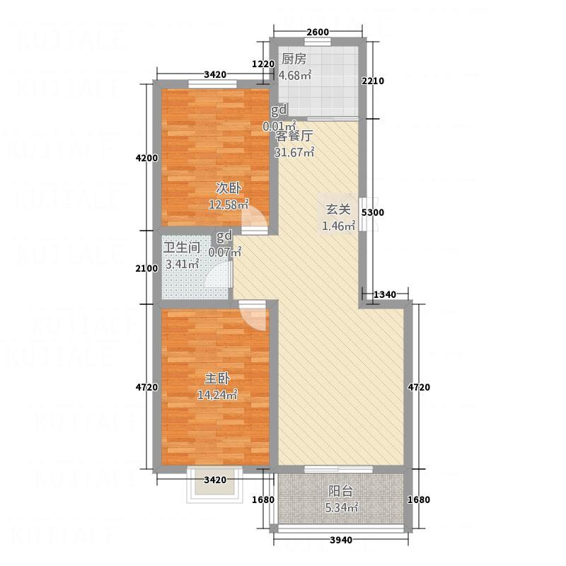 空港国际7.81㎡4-5-6#C2户型2室2厅1卫