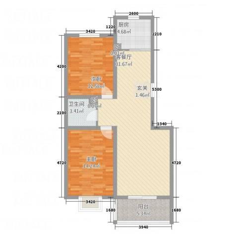 空港国际2室1厅1卫1厨72.01㎡户型图