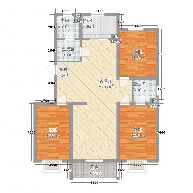 空港国际134.80㎡4-5-6#A户型3室2厅2卫