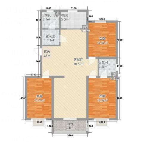 空港国际3室2厅2卫1厨135.00㎡户型图