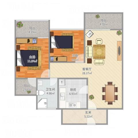 中海国际社区橙郡B12室1厅1卫1厨105.00㎡户型图