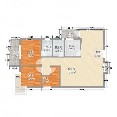 海琴湾3室1厅2卫1厨112.00㎡户型图