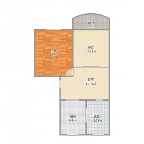 新金山花园1室2厅1卫1厨97.00㎡户型图