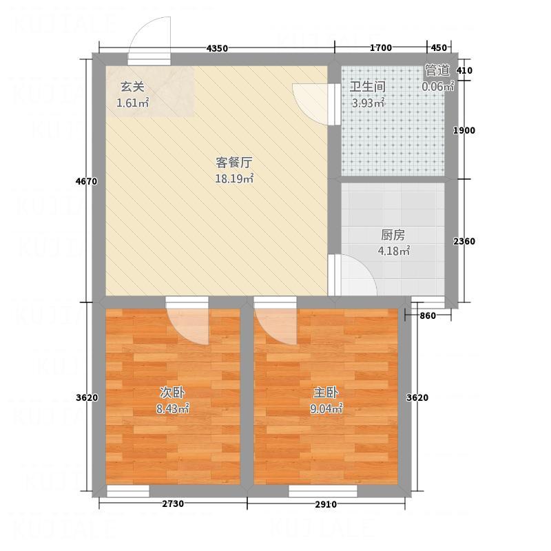 立志花园22户型2室2厅1卫1厨
