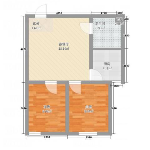 立志花园2室1厅1卫1厨63.00㎡户型图