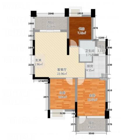 立志花园3室1厅1卫1厨106.00㎡户型图