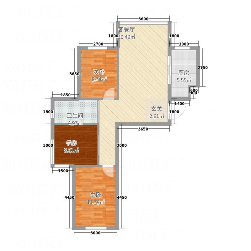 双圆佳苑5.00㎡95户型3室2厅
