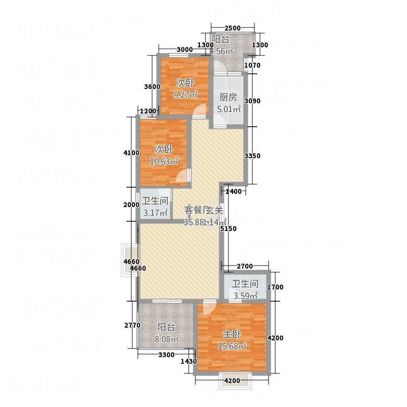 清枫华景136.60㎡G1户型3室2厅1卫1厨