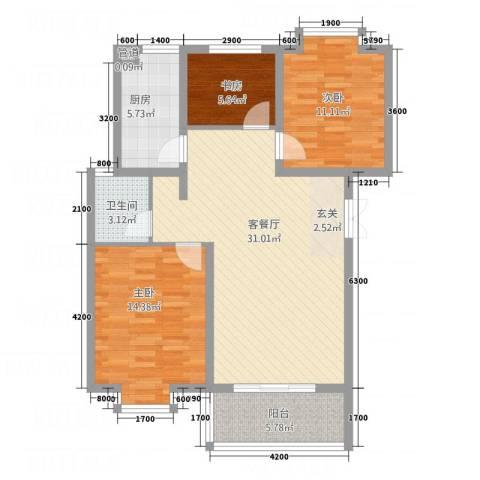 金世・现代城3室1厅1卫1厨76.88㎡户型图