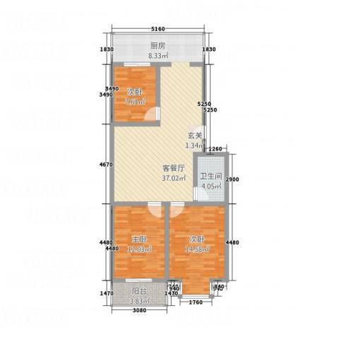 宝嘉龙庭3室1厅1卫0厨113.00㎡户型图