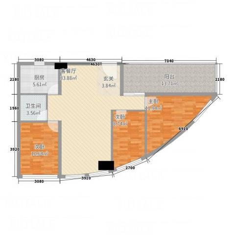 兴业中心(杏林兴业银行大厦)3室1厅1卫1厨124.00㎡户型图