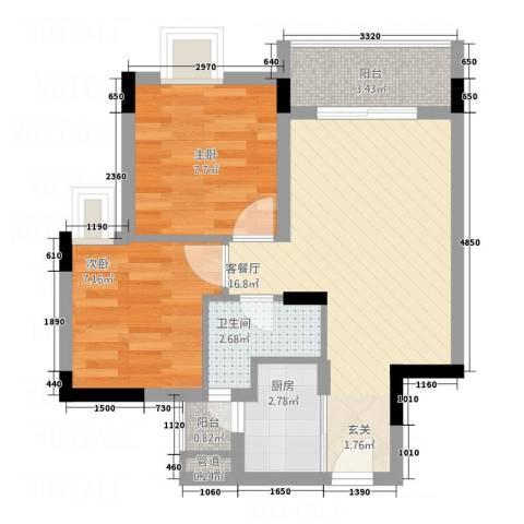 星座尚筑2室1厅1卫1厨48.00㎡户型图