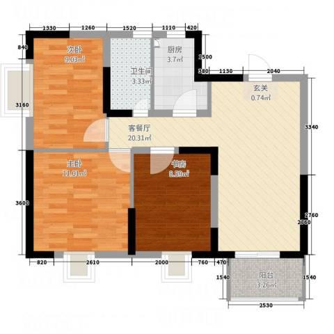 万顺花园3室1厅1卫1厨85.00㎡户型图
