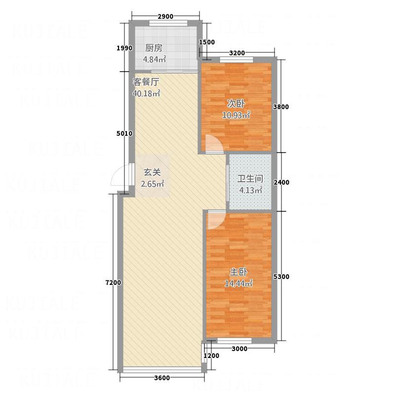 双圆佳苑7.00㎡97户型2室2厅1卫